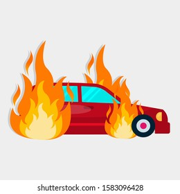 the car catch on fire for insurance concept vector illustration icon