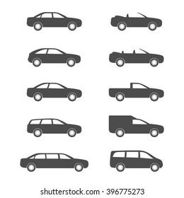 Car category. Set auto body. Icon transport.
