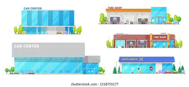 Car center, spare parts and tire shop building icons. Vector vehicle mechanic repair workshop station, cars trade, dealer showroom and tire shop, transport rental company buildings