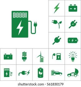 car charging station icon, alternative energy set on white background