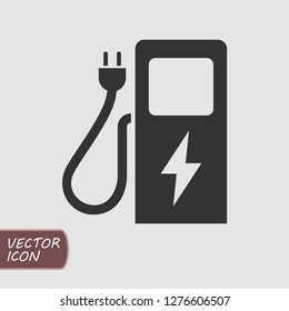 Car charging station icon in trendy flat style. Vector illustration.