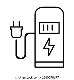 Car charging stationlinear icon. Electric fuel pump for public usage. EV rechagging point. Smart energy. Thin line illustration. Contour symbol. Vector isolated outline drawing. Editable stroke