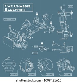 Car chassis blueprint vector