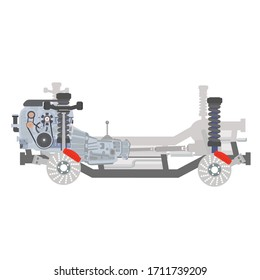 Car chassis with internal combustion engine and transmission systems on frame. Flat vector illustration isolated on white background.