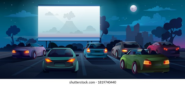 Car cinema or drive in movie theater and auto theatre with outdoor screen, vector cartoon background. Car cinema or drive movie in open air with people in cars on parking lot watching movie