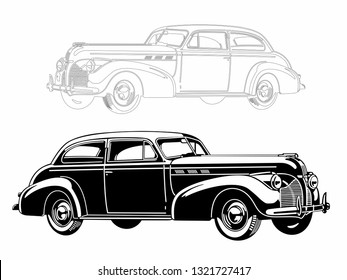 The car is a classic American. Monochrome execution. Silhouette. Map coloring