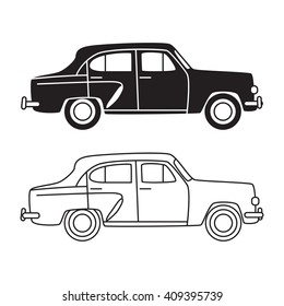 car classic retro vintage auto black and white outlines silhouette