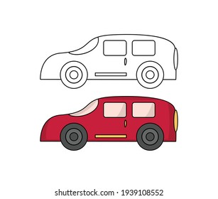 Car clipart with outline in vector using children's coloring page. Red Car Clipart with cartoon style for kids page.