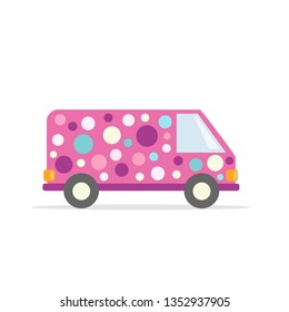 Car clowns. Pink party van. Vehicles in bright colors. Flat style. Vector graphics.