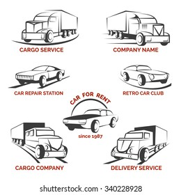 Car club logo vector set. Delivery and repair station, rent auto  truck and cargo transportation illustration