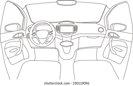 car cockpit line drawing, vector