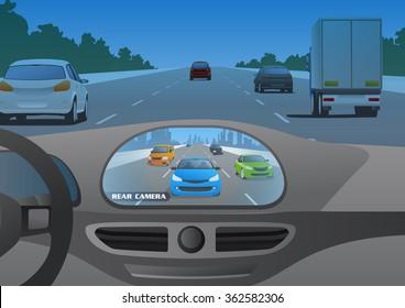 car cockpit and rear view camera image, vector illustration