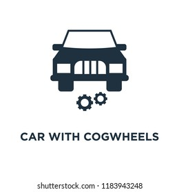 Car with cogwheels icon. Black filled vector illustration. Car with cogwheels symbol on white background. Can be used in web and mobile.