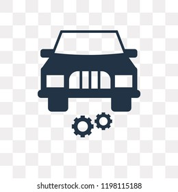 Car with cogwheels vector icon isolated on transparent background, Car with cogwheels transparency concept can be used web and mobile
