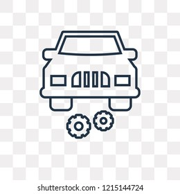 Car with cogwheels vector outline icon isolated on transparent background, high quality linear Car with cogwheels transparency concept can be used web and mobile