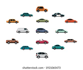 car collection, automobiles side view, white background vector illustration