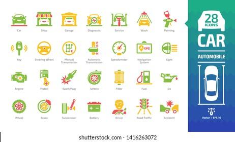Car color icon set with basic automotive symbols: automobile, auto service, wash & shop, vehicle repair, wheel & tyre, oil & fuel, motor engine, suspension, driver, accident and more glyph pictograms.