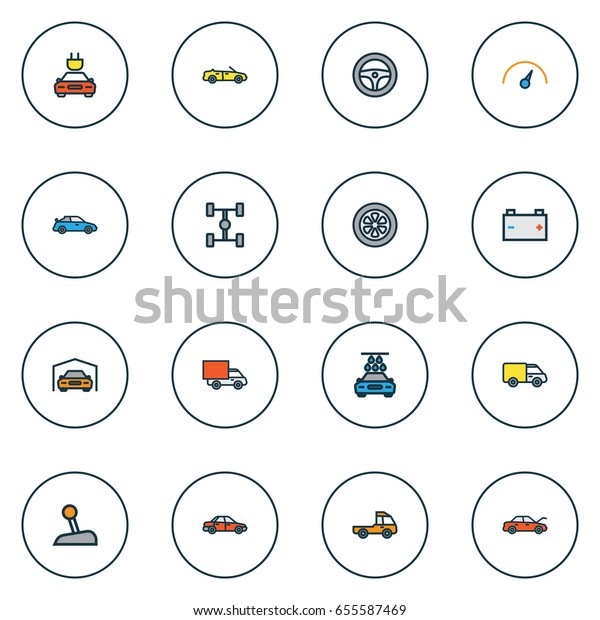 Car Colorful Outline Icons Set. Collection Of Cabriolet, Rudder, Carcass And Other Elements. Also Includes Symbols Such As Speedometer, Tesla, Water.