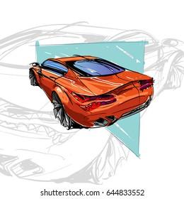 Car concept. Car sketch. Vector hand drawn. Autodesign. Automobile drawing.