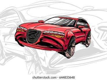 Car concept.Car sketch.Vector hand drawn.Autodesign.Automobile drawing.
