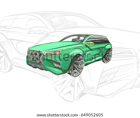 Car Concept Sketch Vector Hand Drawn Autodesign Automobile Drawing