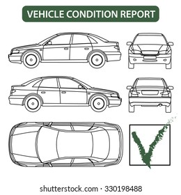 Car condition form (vehicle checklist, auto damage inspection)