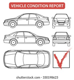 Car condition form (vehicle checklist, auto damage inspection) vector