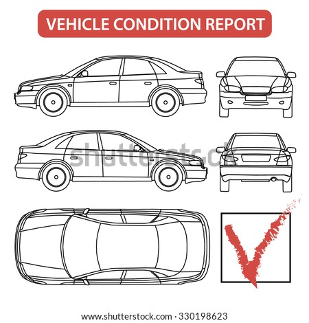 Car Condition Form Vehicle Checklist Auto Damage Inspection Vector