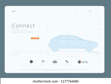 Car Connect Infographic Landing Page UI UX Vector Illustration