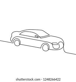 Car continuous line vector illust