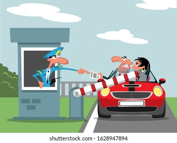 Car control in front of the barrier - caricature