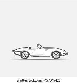 car convertible in black and white style - vector illustration.