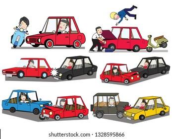 car crash and accident on road. Flat vector illustration design.