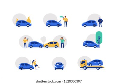 Car Crash Accident on the Road Icons Set.  Drivers standing near Damaged Vehicles. Automobile with Broken Windshield. Different Auto Collision Scenes. Flat Cartoon Vector Illustration.