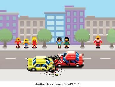 car crash accident on street, pixel art game style retro layers illustration
