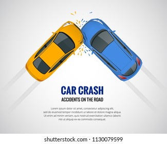 Car crash, car accident top view isolated on a light background. Car crash emergency disaster. Flat vector illustration.