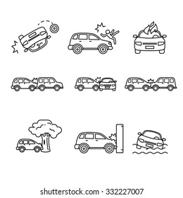 Car crash and accidents. Thin line art icons set. Black vector symbols isolated on white.