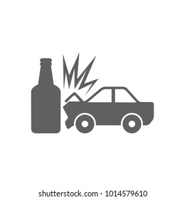 Car crash bottle icon in trendy flat style isolated on white background. Symbol for your web site design, logo, app, UI. Vector illustration, EPS