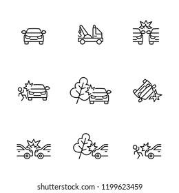 car crash insurance line black icons set