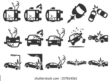 Car crash insurance vector illustration icon set. Included the icons as broken, fire, smoke, accident, death, danger and more.