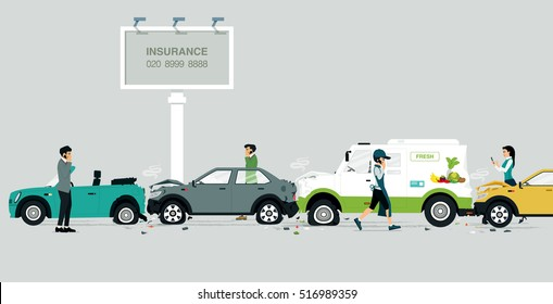 Car crash on a road with a sign insurance as a backdrop.