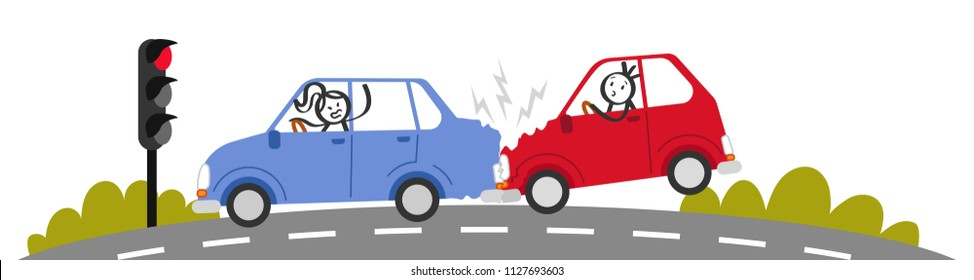 Car crash, rear end collision, stick people in car accident, angry woman shouting at man, traffic light, banner, isolated on white background