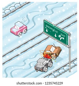 Car crash and sliding car on a slippery snow-covered highway in winter (isometric cartoon)