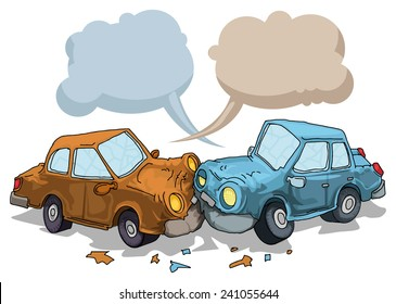 Car crash, with speech bubbles, vector illustration
