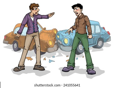 Car crash, two people arguing, vector illustration