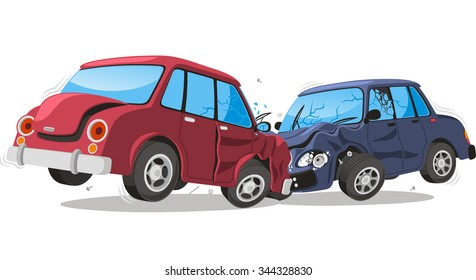 Car crash vector cartoon illustration