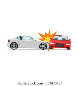 Car crash vector illustration flat cartoon style, two automobiles collision, auto or vehicle accident scene isolated on white background