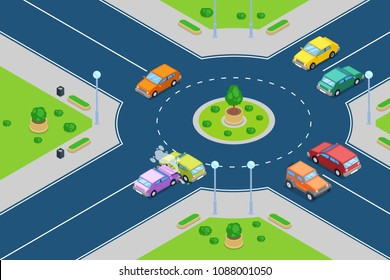 Car crash, vector isometric 3D illustration. Street accident at roundabout junction road. Safety street traffic and insurance concept.