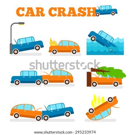 Licensing And Motor Vehicle Crash Risk >> Car Crash Vector Set Insurance Cases Stock Vector Royalty Free