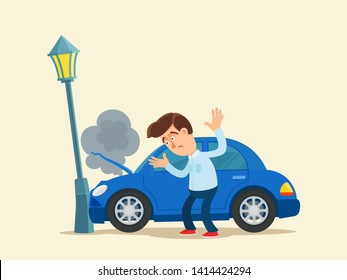 Car crashed into a lamppost. Smoke go from engine. Car is damaged. Driver confused and disappointed. Vector illustration, flat cartoon style. Isolated background.